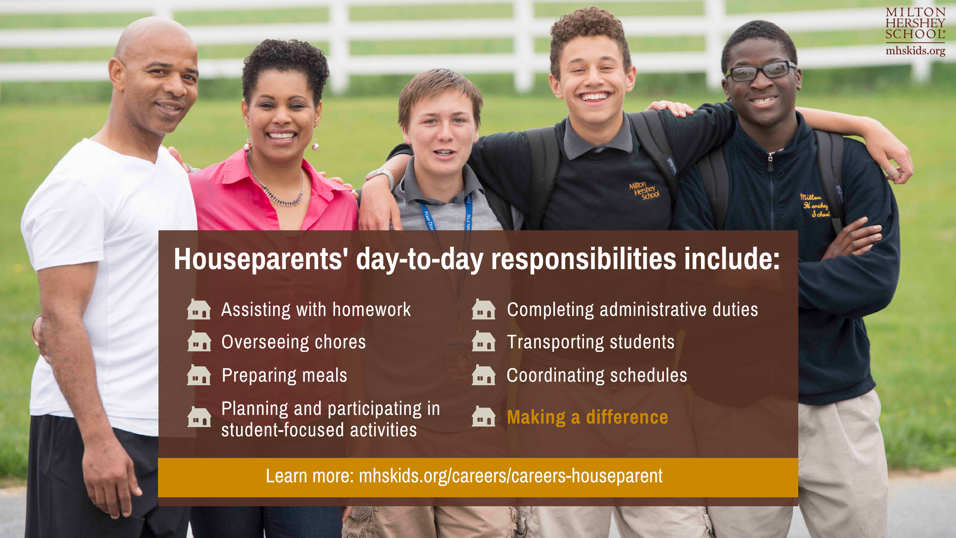 Houseparents at Milton Hershey School significantly impact the lives of our students. Learn more about this rewarding career.