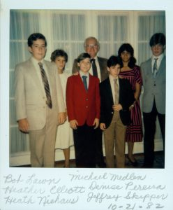 Denise Witmer Childhood photo with her friends and faculty