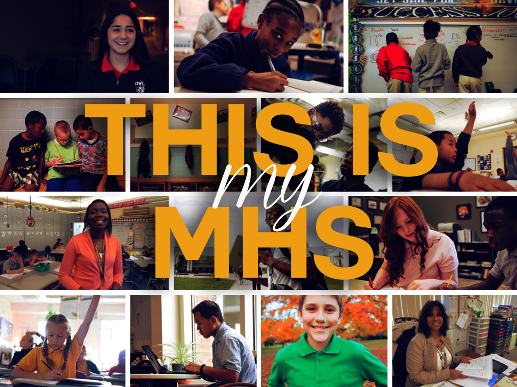 This is my MHS text over multiple pictures of students.