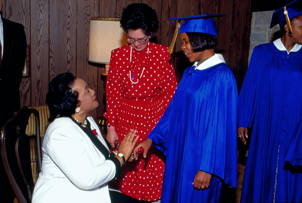 Coretta Scott King, Commencement speaker on June 4, 1995.