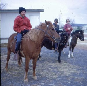Students riding ponies as part of the recreation program in 1971.