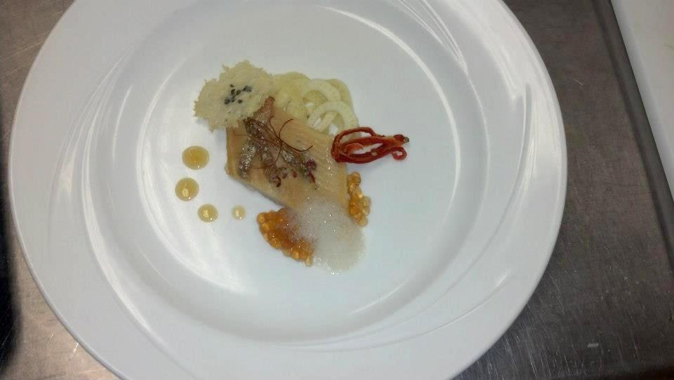 "Smoked trout with pickled fennel, lemon gastrique, and black tea and mushroom ""caviar"""
