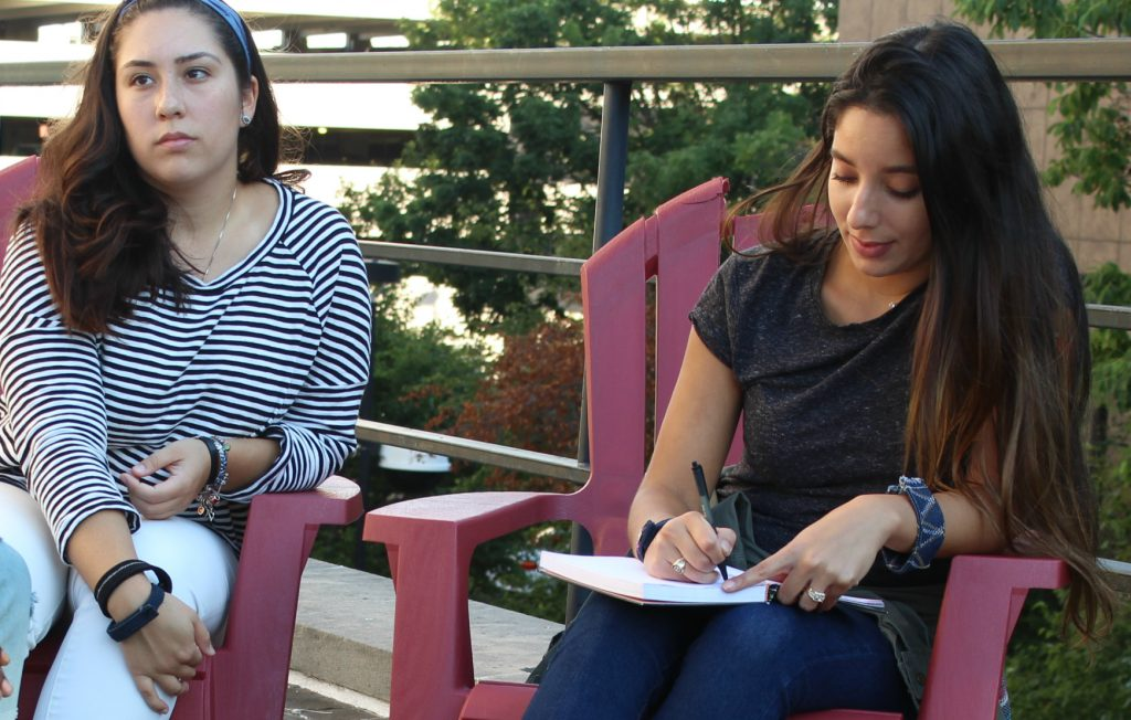 Mercedes (left) and Julie working together on their Digital Diversity platform.