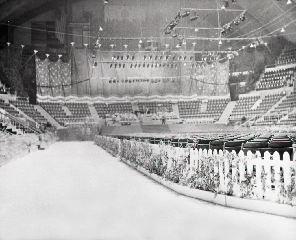 The Hershey Sports Arena decorated for President Eisenhower's birthday party. This is the same space that hosted birthday parties for Milton Hershey in 1937 and 1938.