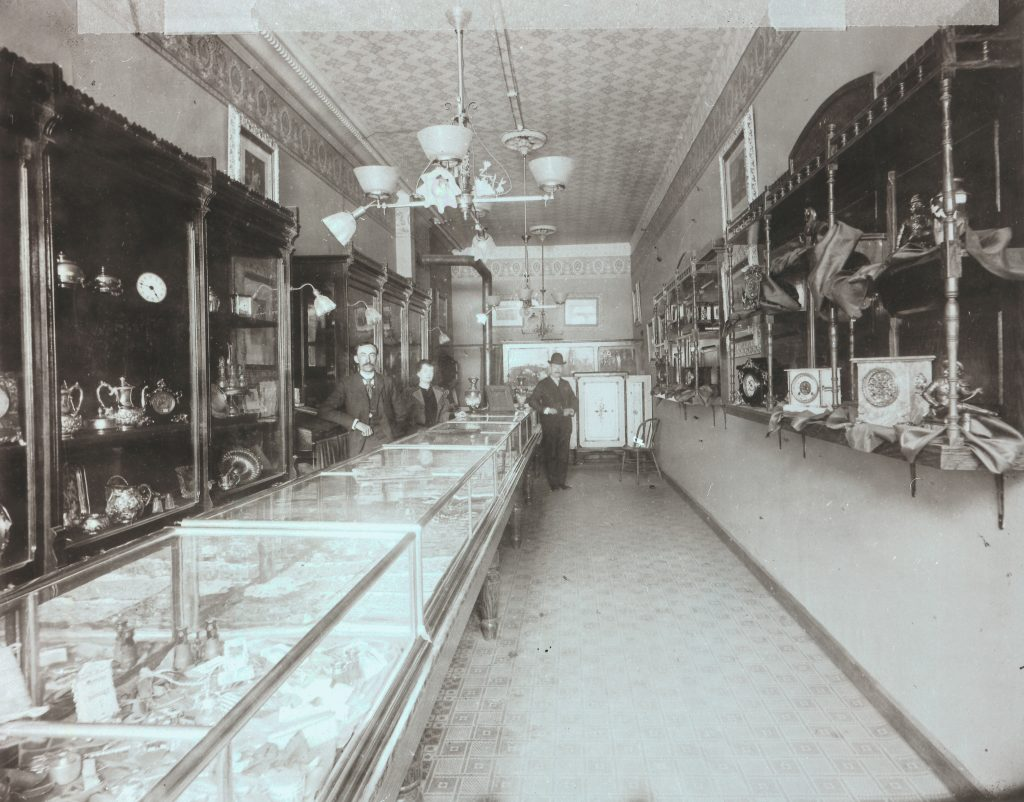 Catherine working in the jewelry store in Jamestown, NY.