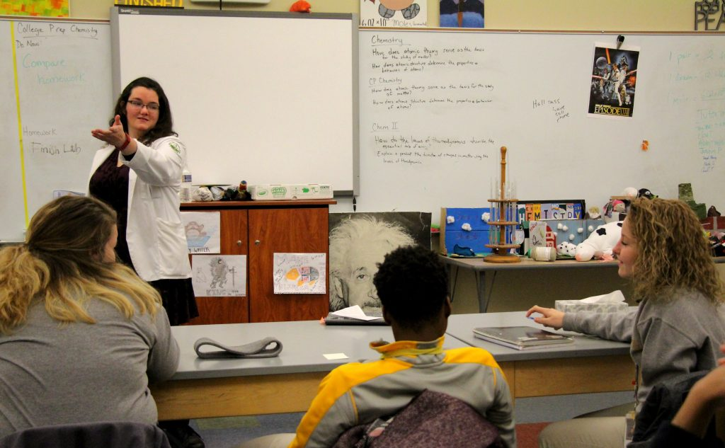 Rosemary Savage '08 recently visited with Milton Hershey School students who are enrolled in Chemistry II classes and shared college advice.