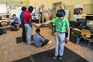 As part of the Computer Technology career pathway in Milton Hershey School's CTE program, high school students are working with virtual reality technology.