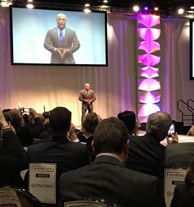 """Milton Hershey School junior Malcolm Jones had the opportunity to introduce entrepreneur and """"Shark Tank"""" star Daymond John to the stage in Hershey, PA."""