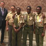 Members of the Milton Hershey School Boy Scout Troop 75 were featured at the 2017 Hershey Friends of Scouting breakfast.