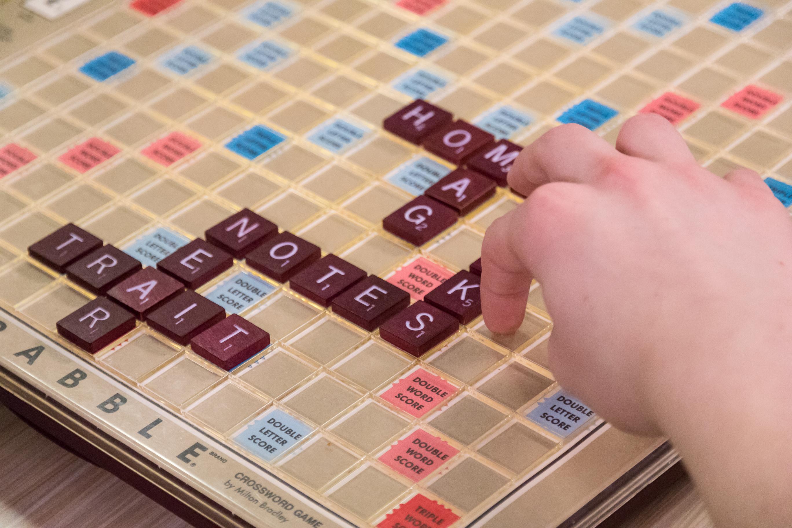 Scrabble board game closeup.