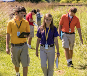 Students walking through a field.