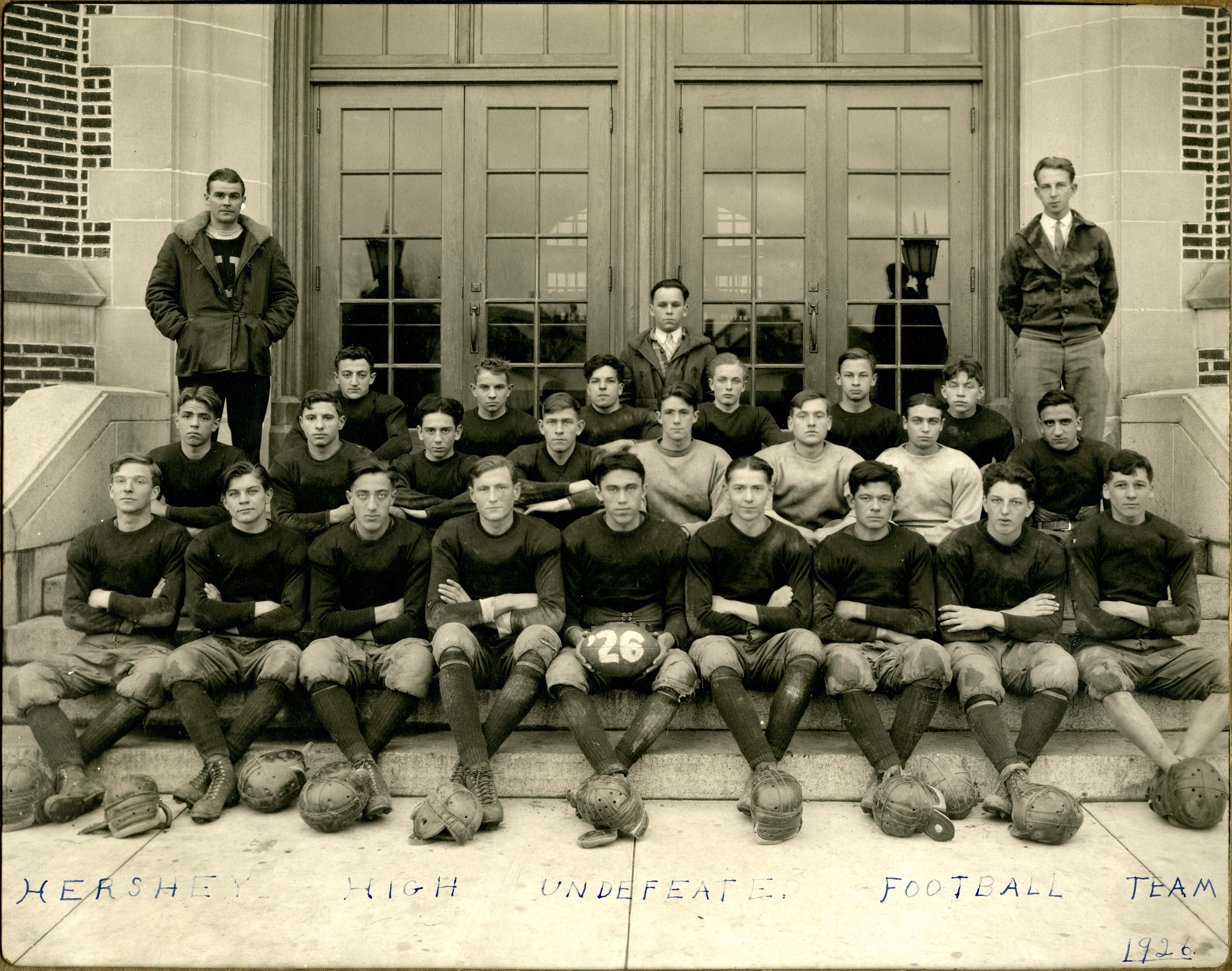 Hershey High School football team sitting