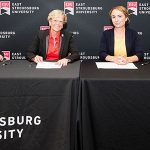 ESU Provost and Vice President for Academic Affairs, Joanne Bruno, J.D.; ESU President, Marcia G. Welsh, Ph.D.; MHS Vice President of Graduate Programs for Success, Tanya Barton; and MHS Transition Specialist, Marina Garner.