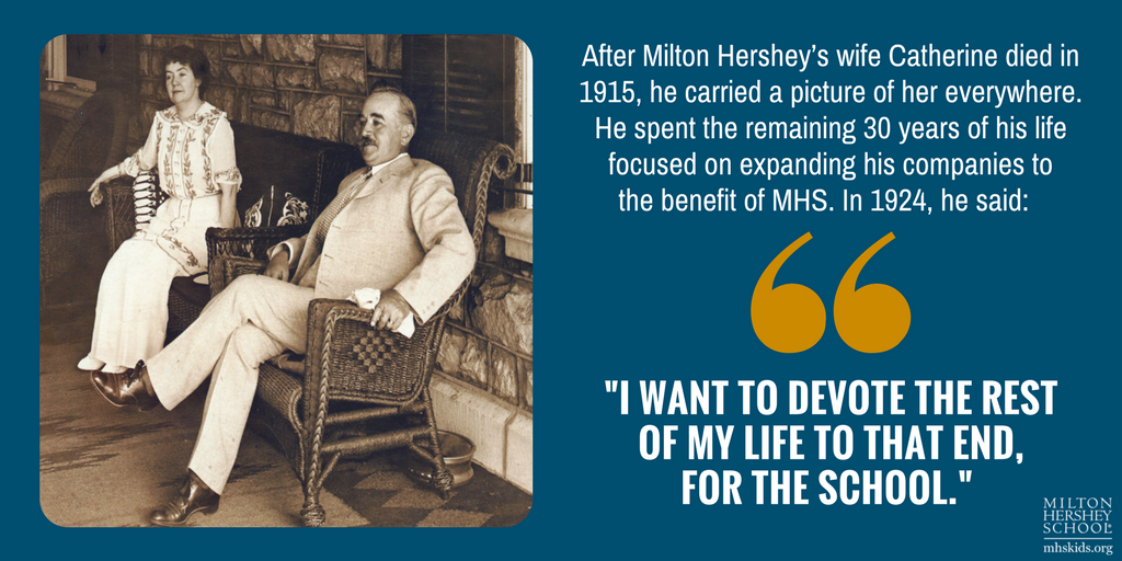 """I want to devote the rest of my life to that end, for the school."" --Milton Hershey"