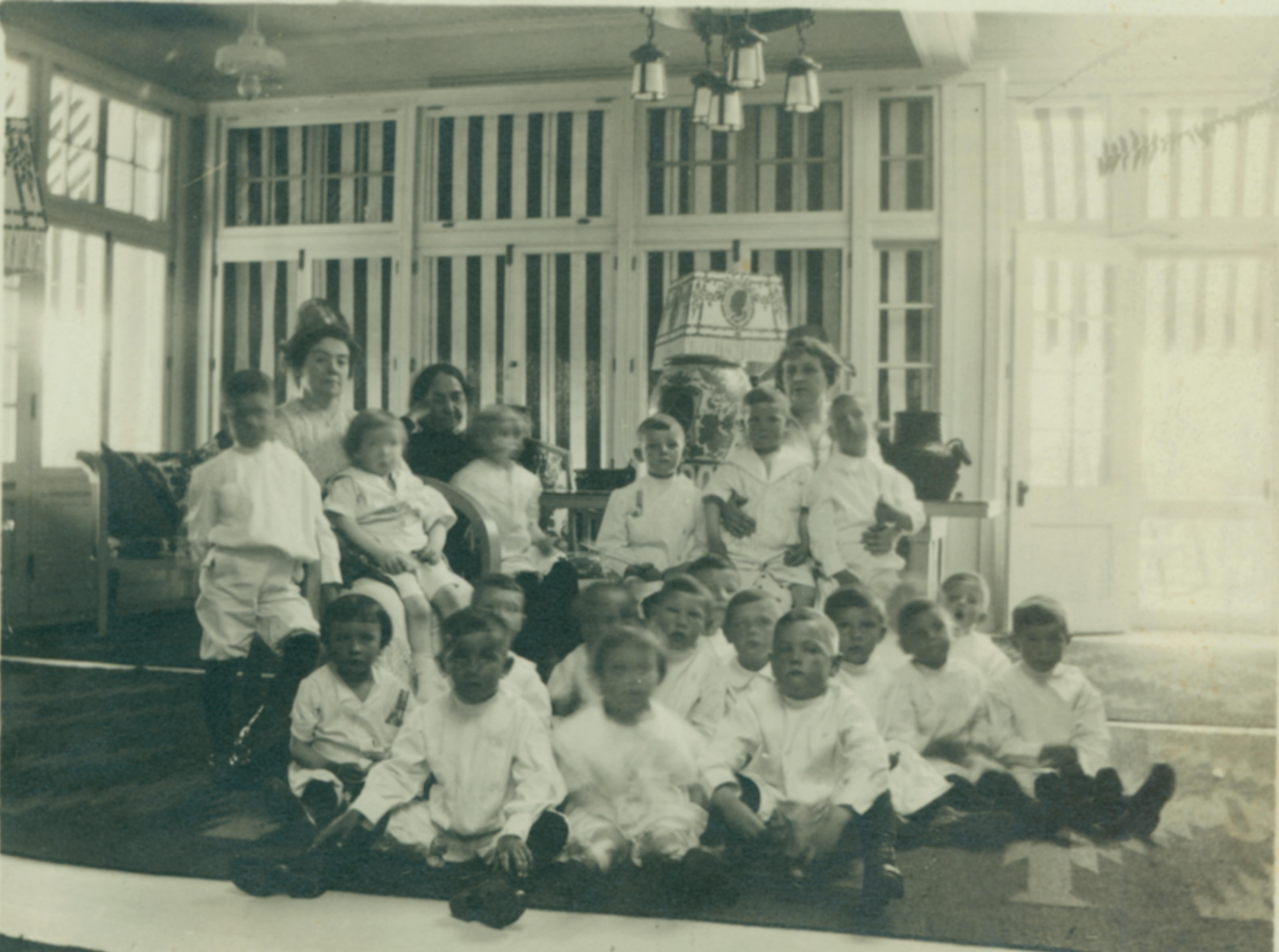 Catherine Hershey pictured with students from Milton Hershey School.