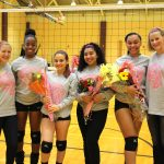 MHS seniors at annual Dig Pink volleyball game