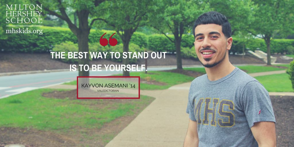 Kayvon Asemani '14 enrolled at Milton Hershey School in fifth grade.