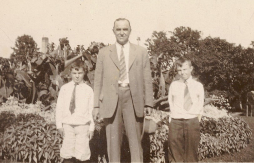 George Copenhaver pictured with two students in the late 1920s.