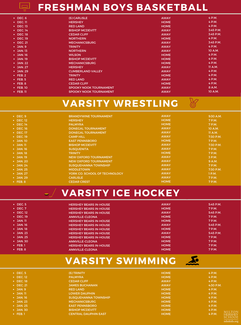 MHS winter athletic schedule