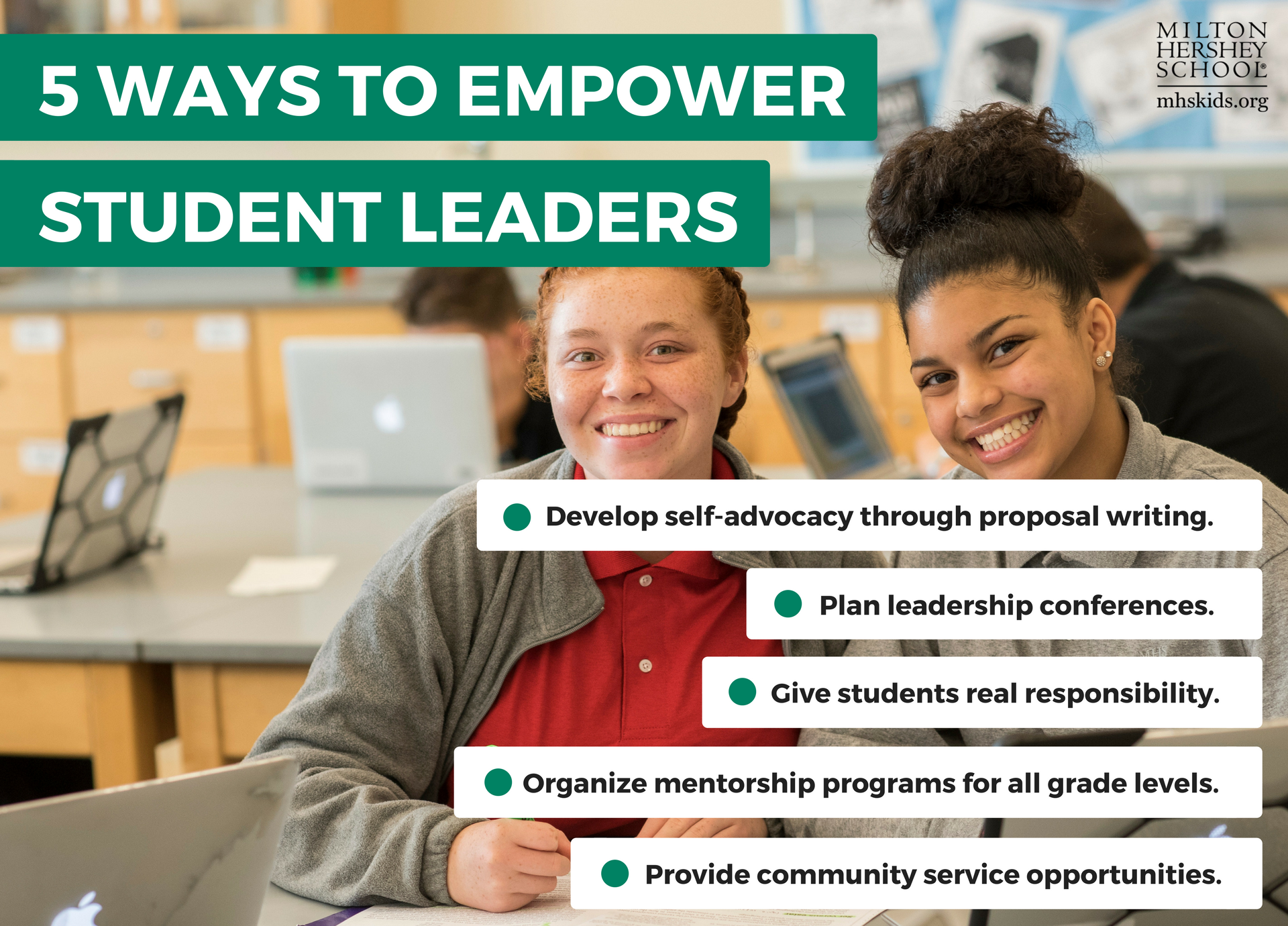 Through cooperative learning activities, conferences, and service learning projects, educators can empower students of all ages to serve as student leaders.