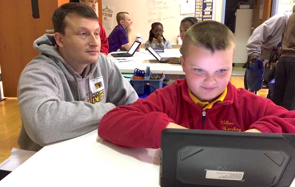 James, an MHS fifth-grader, and his father