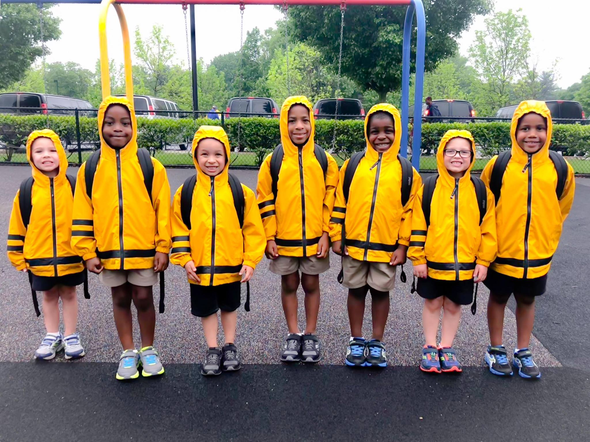 MHS elementary students in raincoats