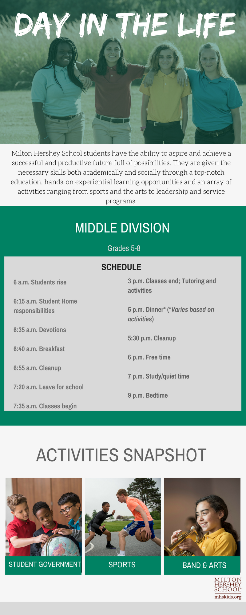 Schedule for a Middle Division student at MHS.