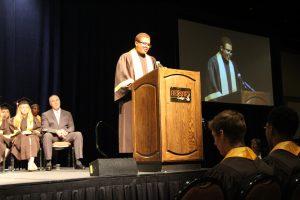 MHS senior Patrick Brown addresses his classmates