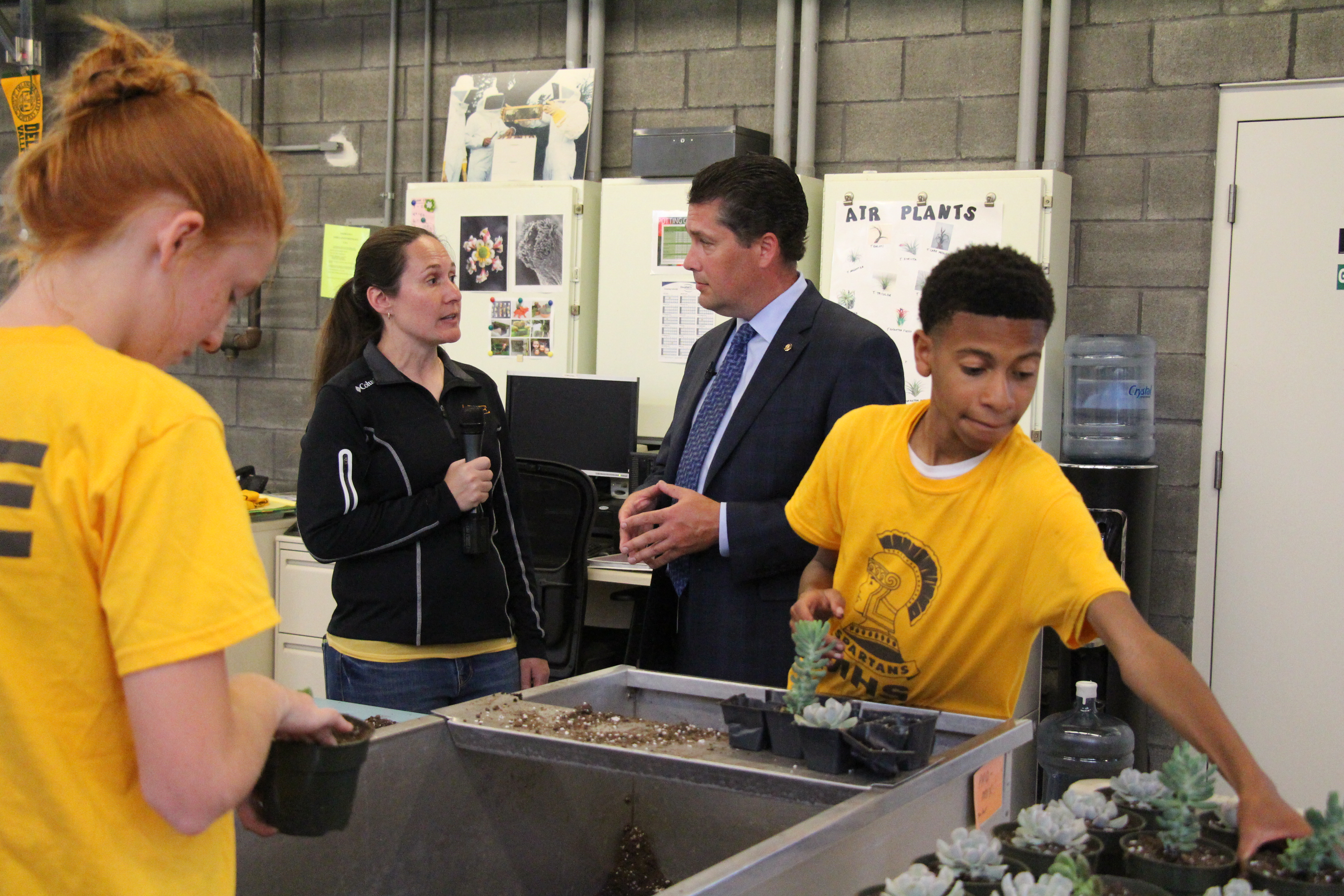 Pennsylvania State Representative Tom Mehaffie visited the Milton Hershey School campus this week to learn more about the school's student-run Project Market.