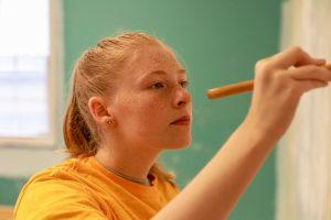 Student volunteering at community center
