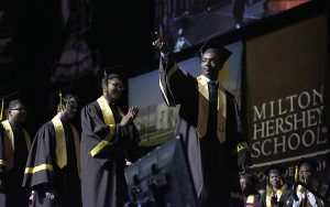 MHS senior walks across the stage at Commencement