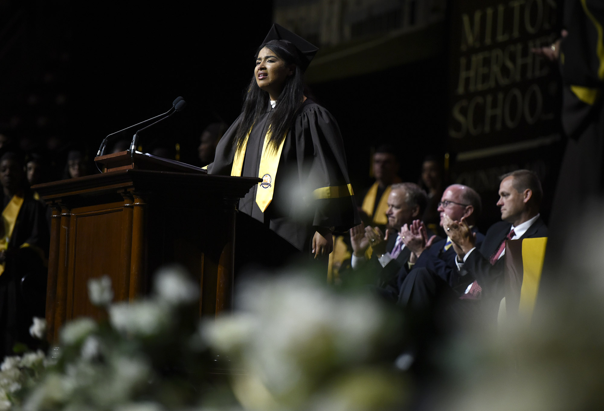 Felicity Torres delivers a heartfelt farewell address during Commencement