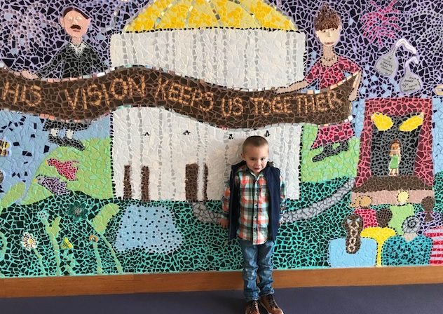 Landon, a pre-k student, on Enrollment Day