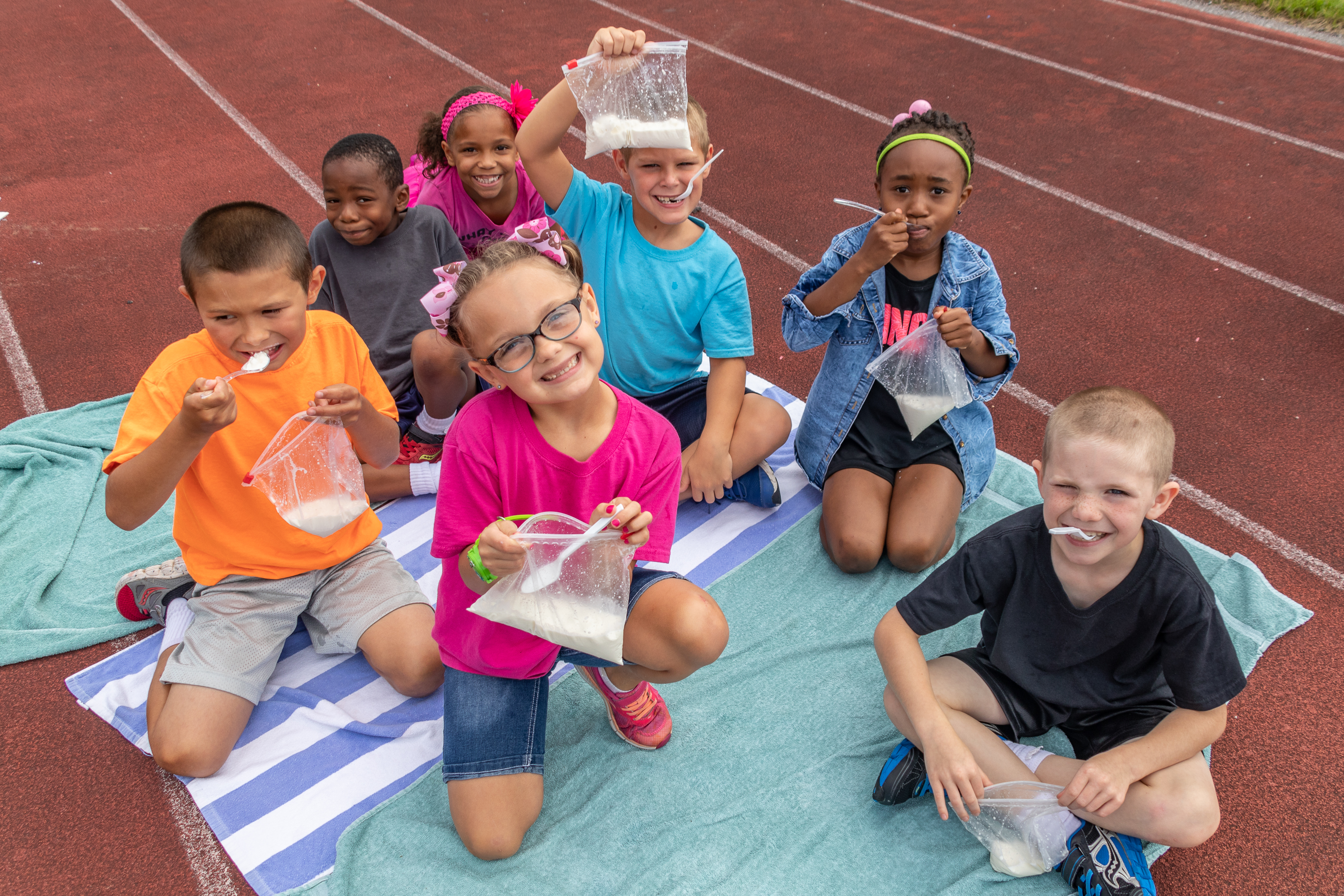 Elementary students made their own ice cream