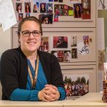 MHS teacher Casey Ainsworth poses for a photo in her classroom