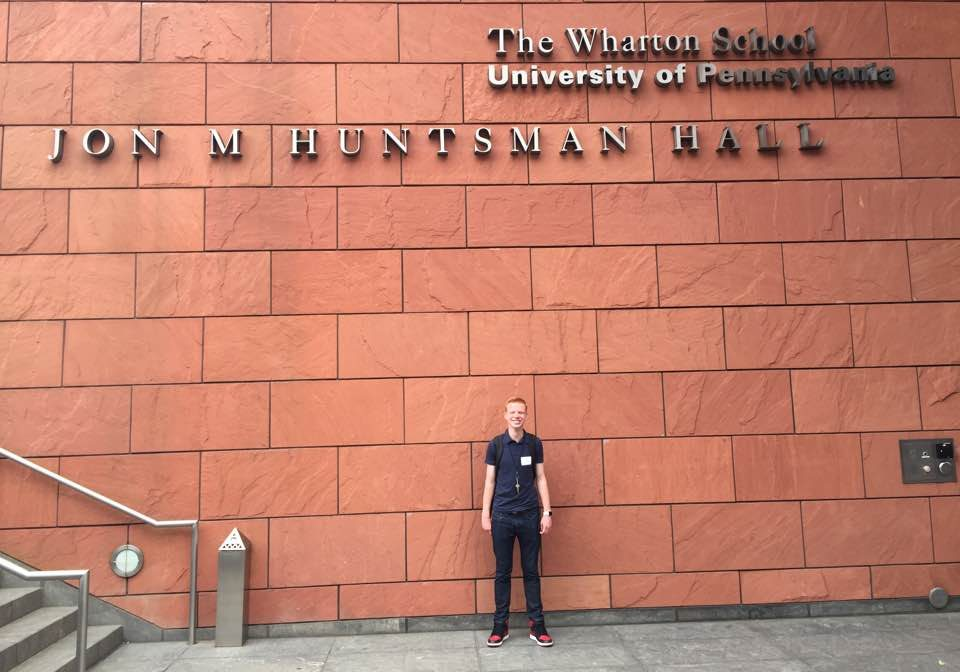 Elijah Conniff outside The Wharton School of Business