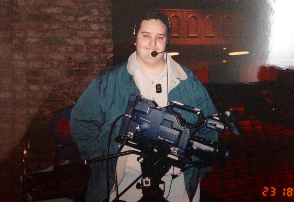 Chris in the TV studio during high school.
