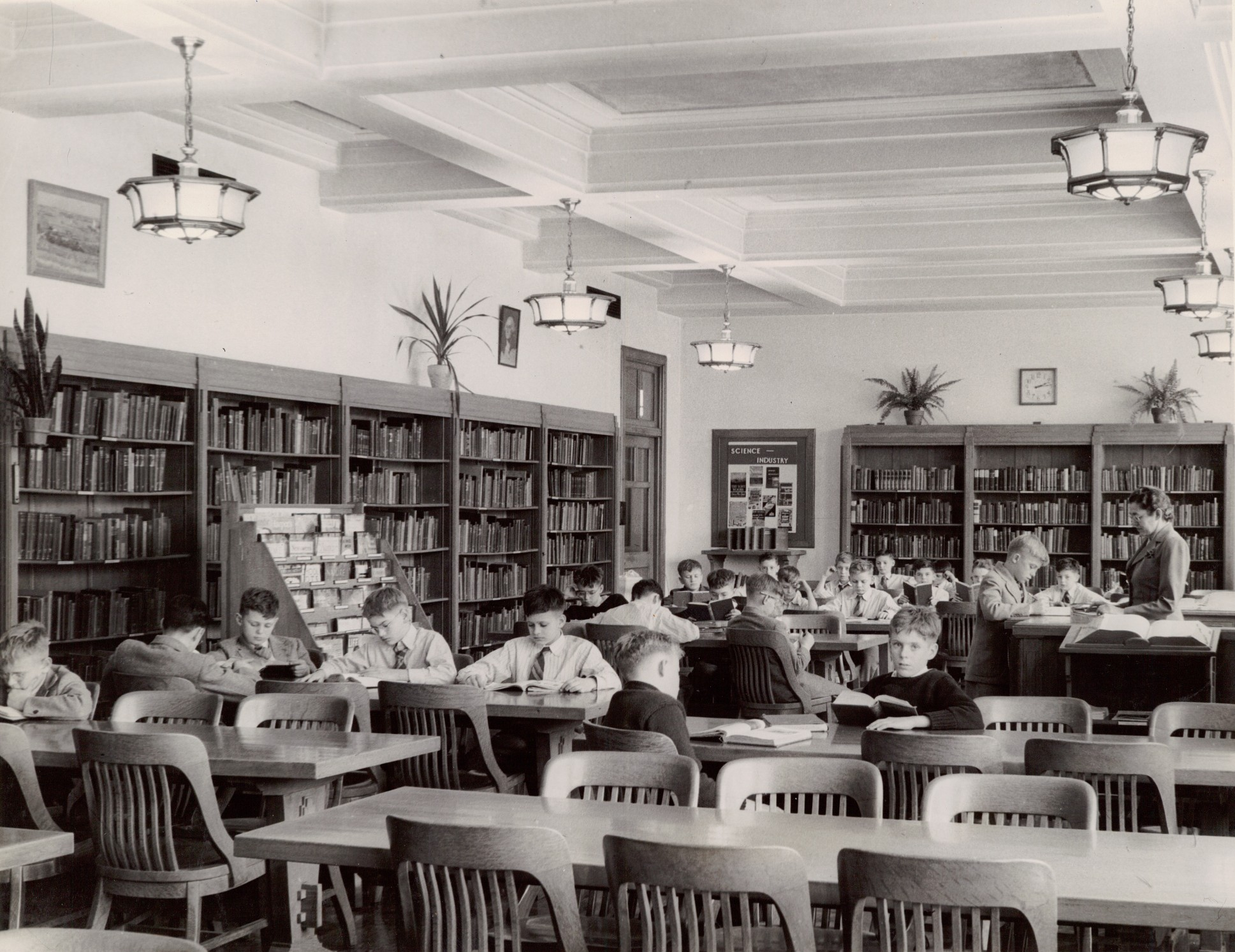 A library at MHS during the 1940s