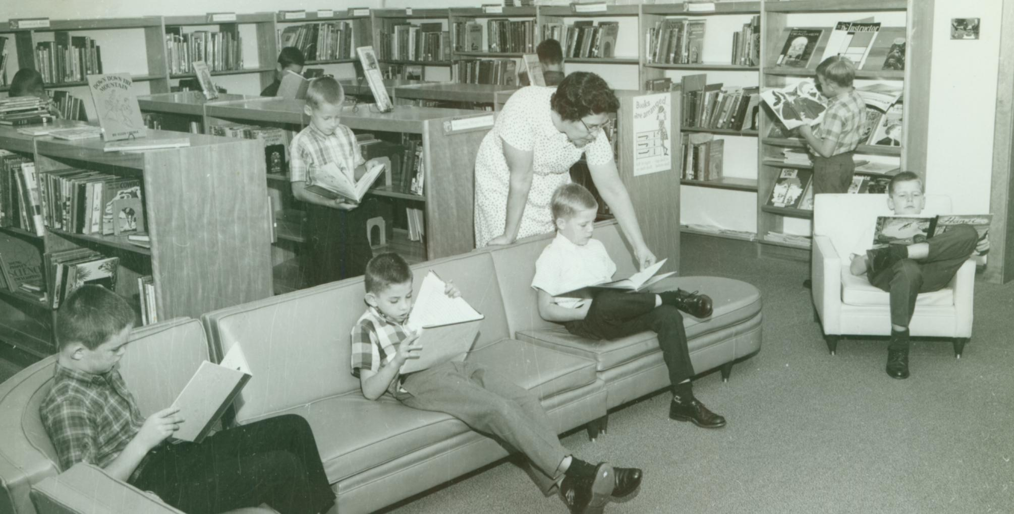An elementary library at MHS in 1966