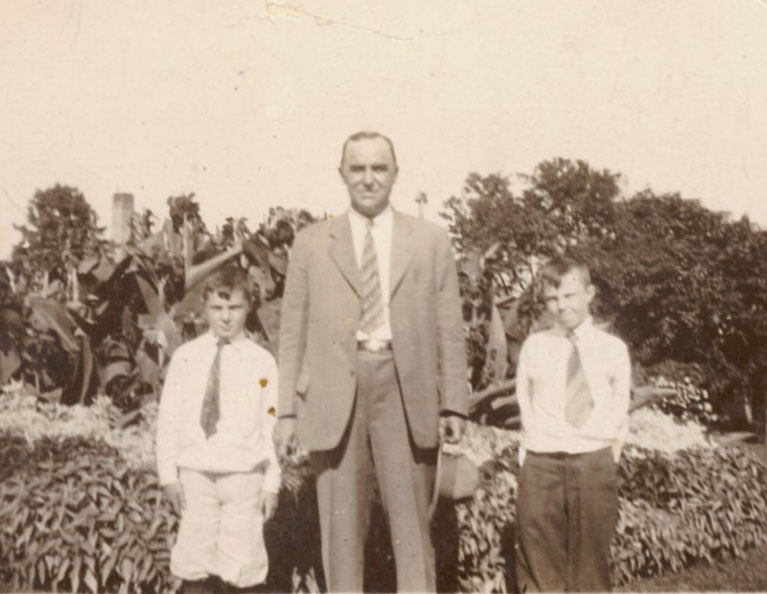George Copenhaver is pictured with two students in the late 1920s