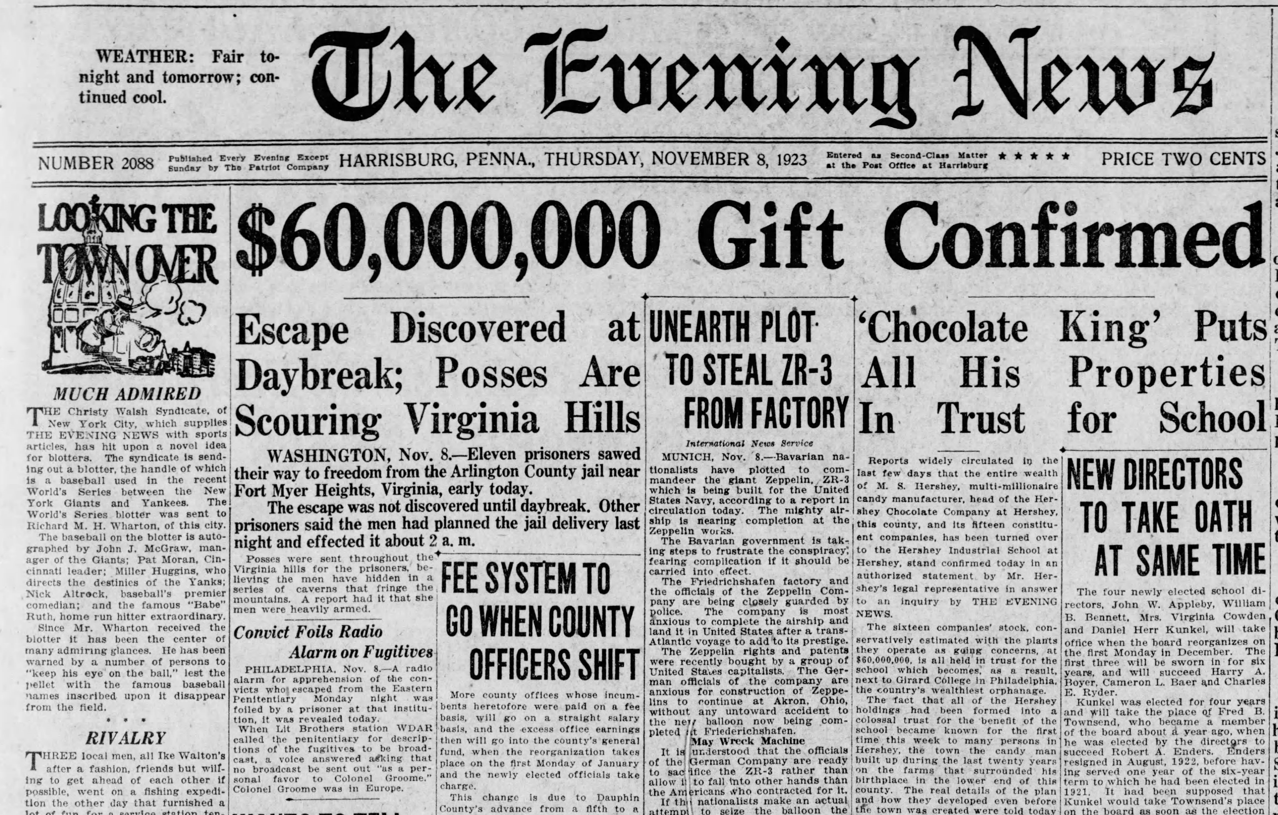 Harrisburg Evening News article sharing Milton Hershey's gift