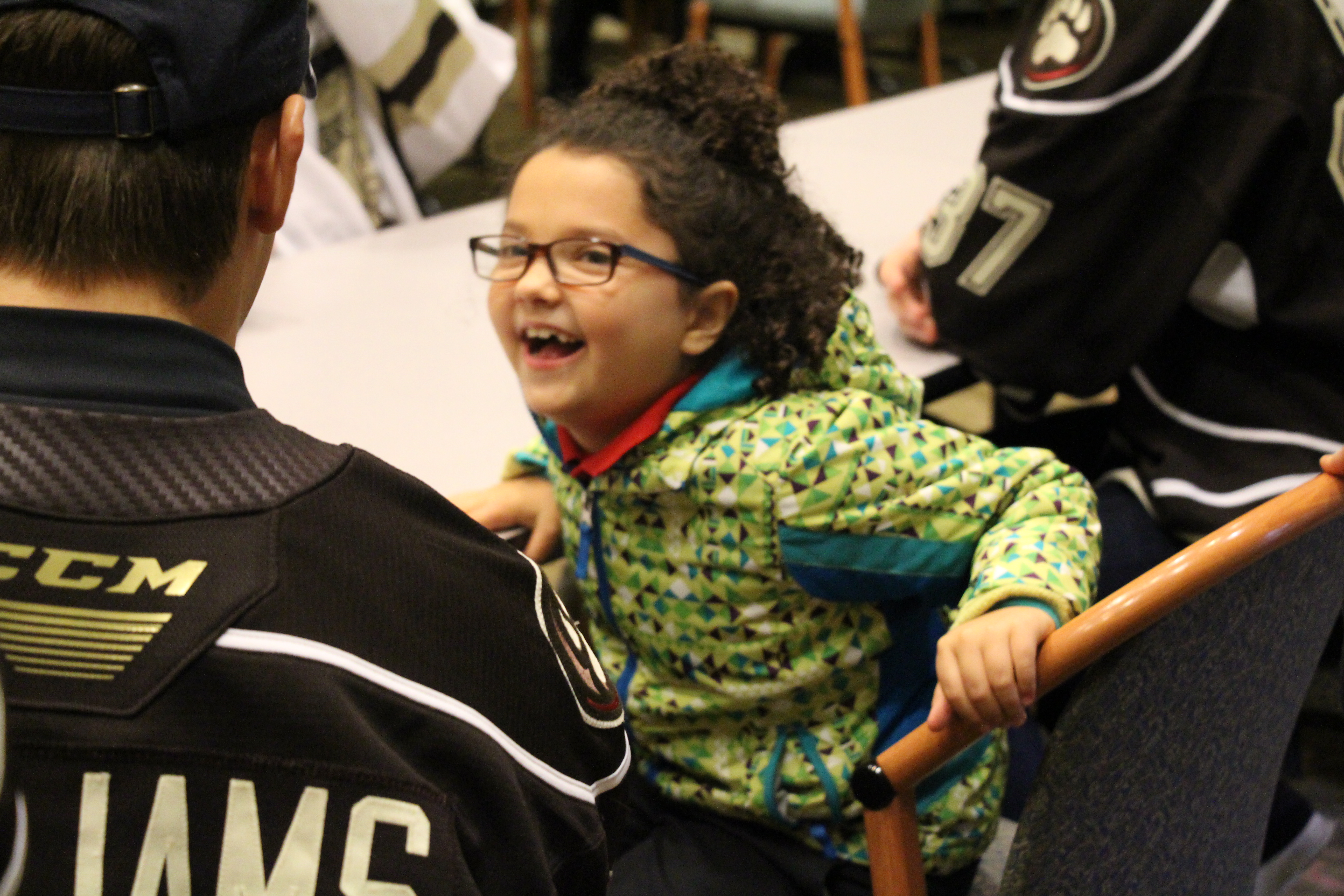 Hershey Bears players visit with MHS students