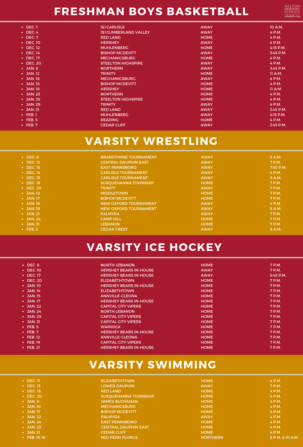 Winter athletic schedule
