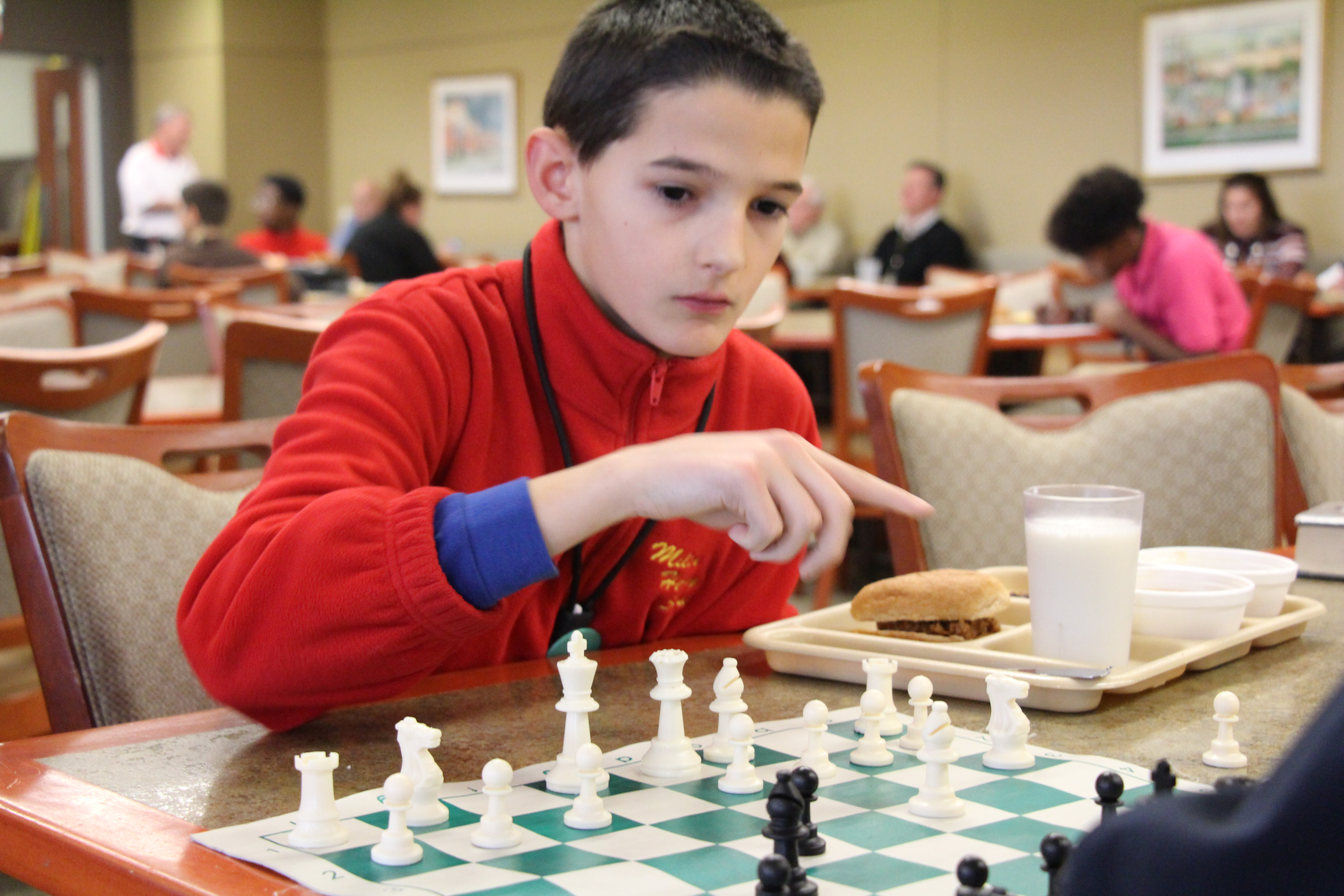 MHS student playing chess