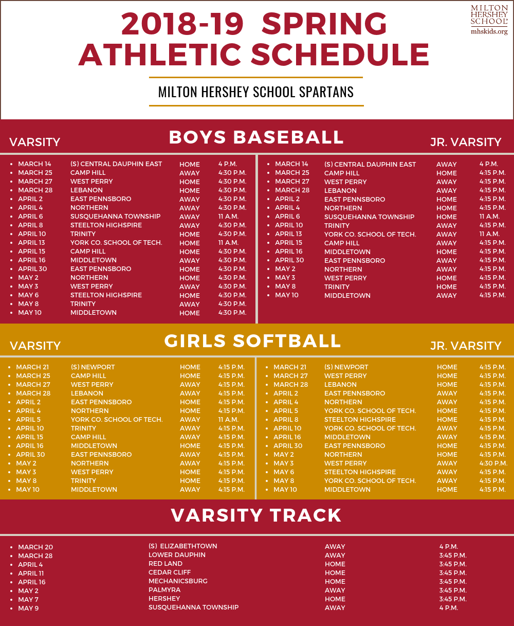 2018-19 Spring Athletic Schedule