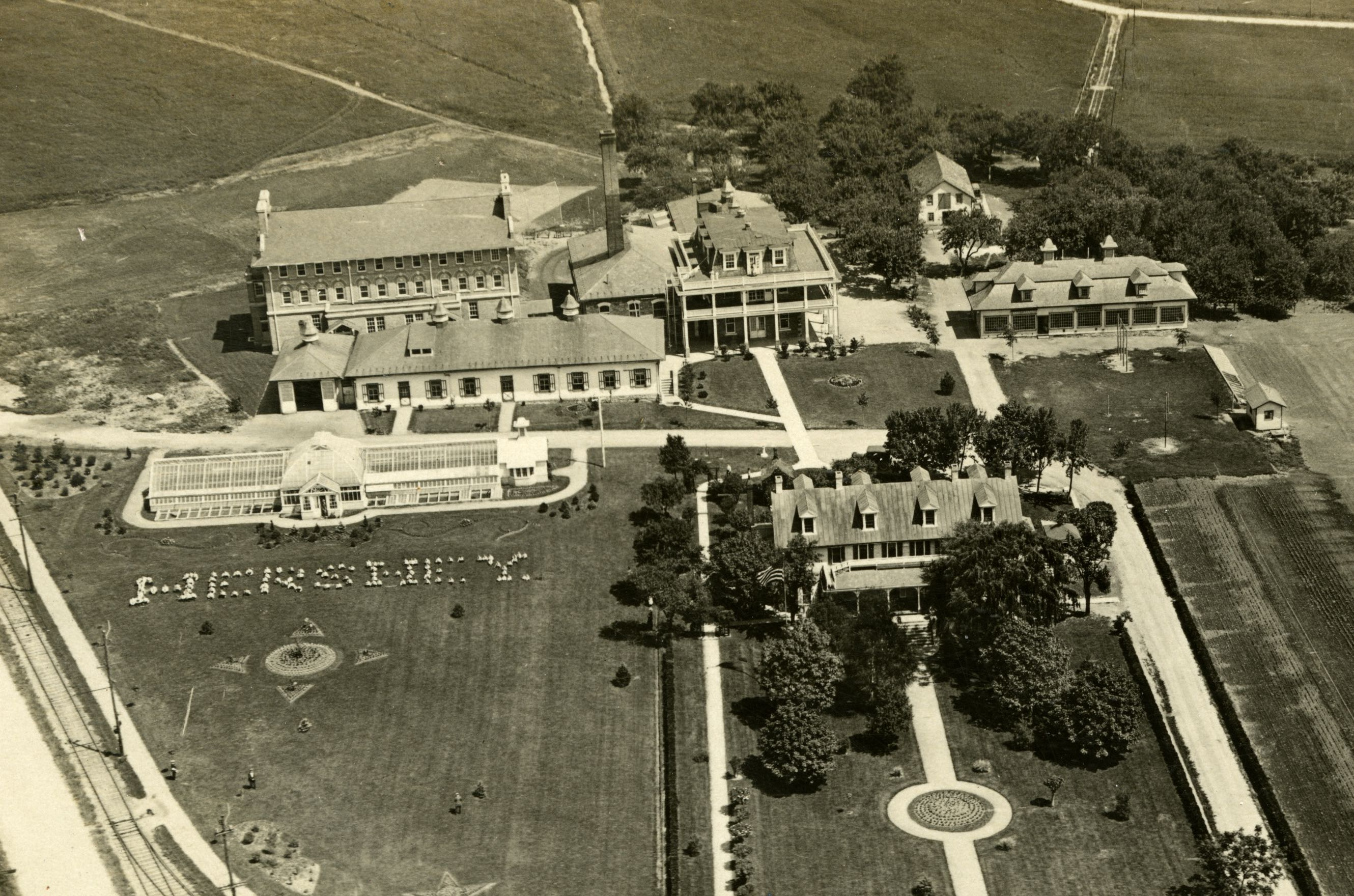 Aerial photo of campus in the early 1920s