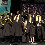 MHS Class of 2019 celebrate on stage during the 85th Commencement Ceremony.