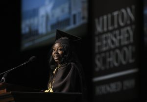 MHS senior Marrika Phillips gives the opening address during the 85th Commencement Ceremony.