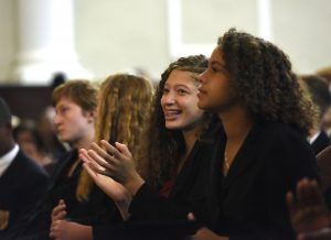 MHS students listen to speakers during the Eighth Grade Promotion Ceremony.
