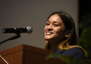 MHS student speaks during the Eighth Grade Promotion Ceremony.